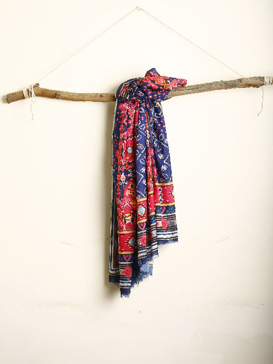 Blue and Red Printed stole