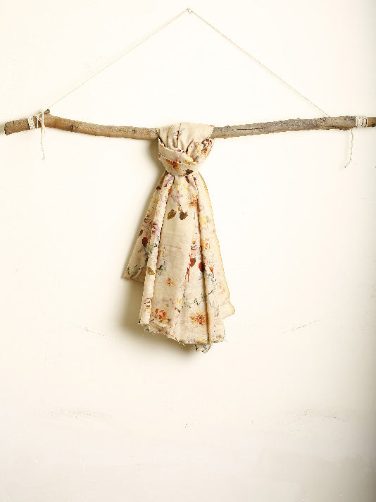 Beige Floral English Print Scarf