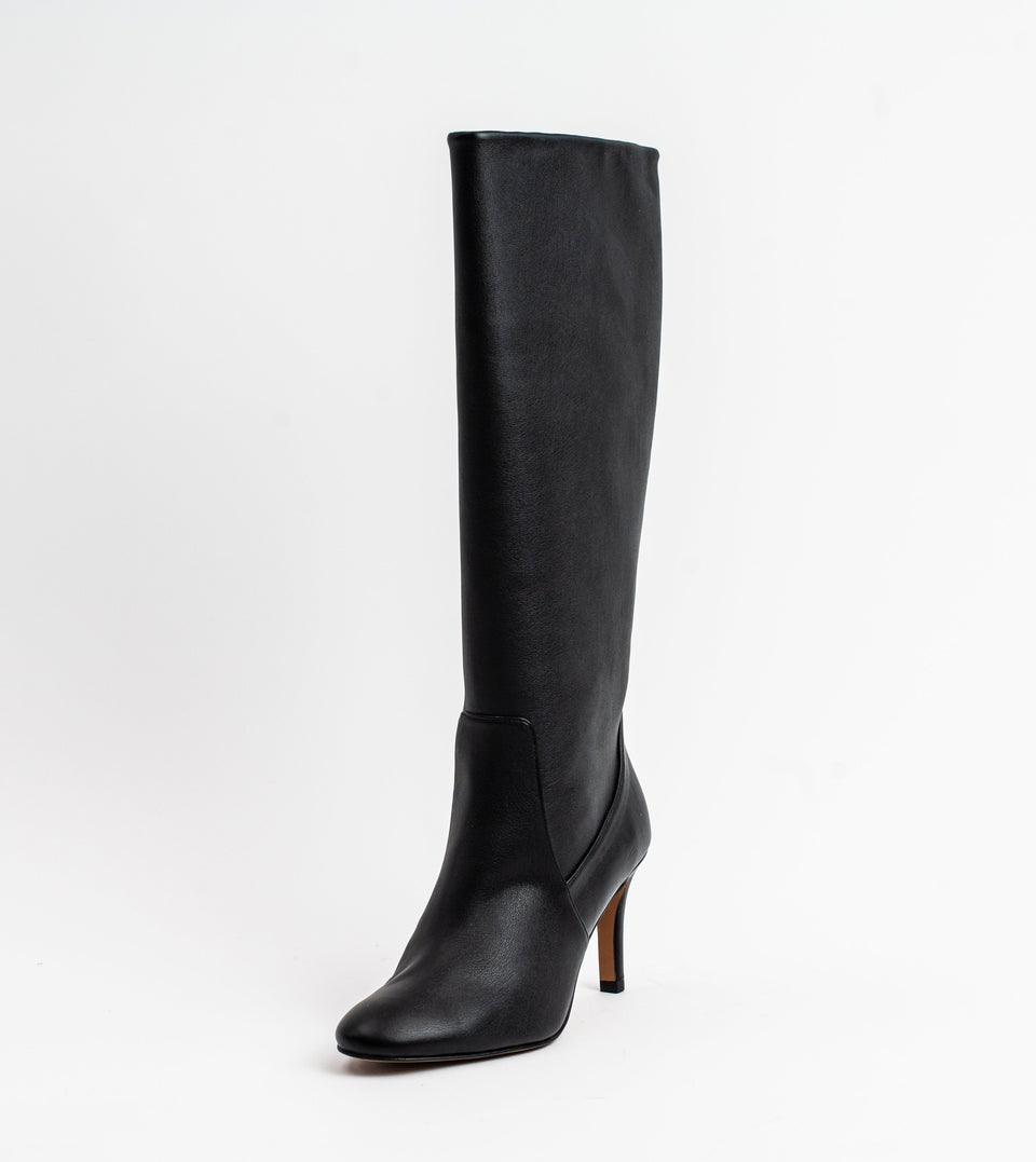 Chloe black leather vegan heeled long boot Long boot Allkind Vegan