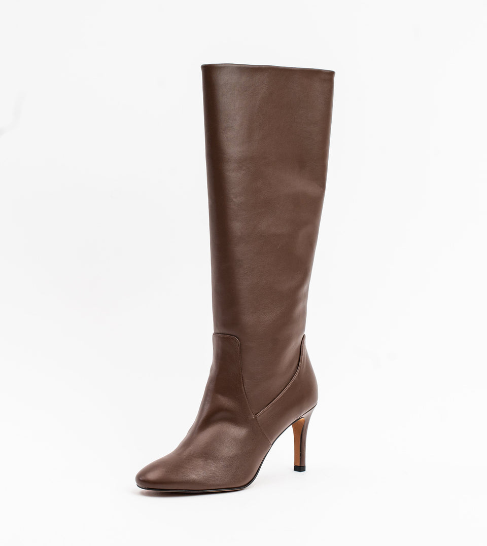 Chloe brown leather vegan heeled long boot Long boot Allkind Vegan