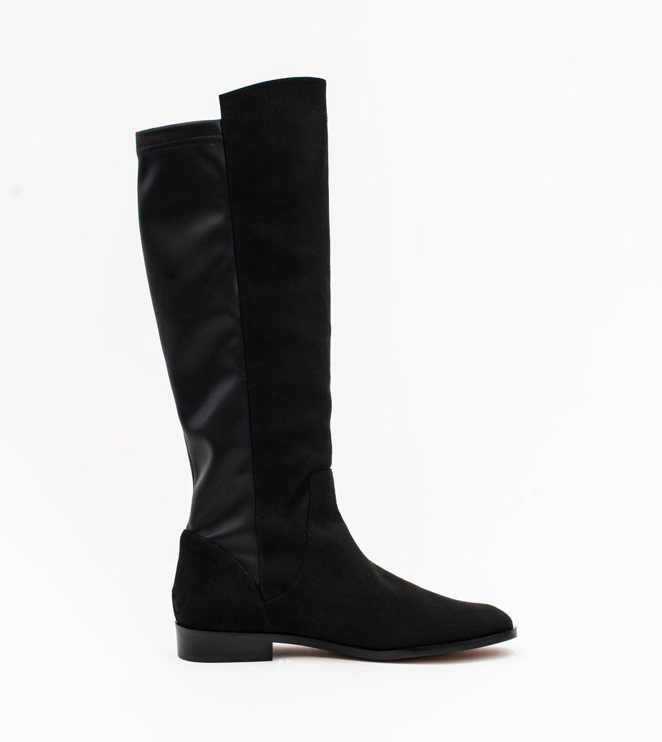 Grace Black Two Tone Vegan Long Flat Boot Long boot Allkind Vegan