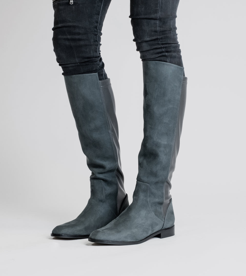 Grace grey two tone vegan long flat boot Long boot Allkind Vegan