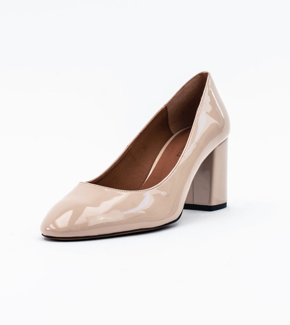 Kate Nude Vegan Patent Block Heel Court Block heel court Allkind Vegan