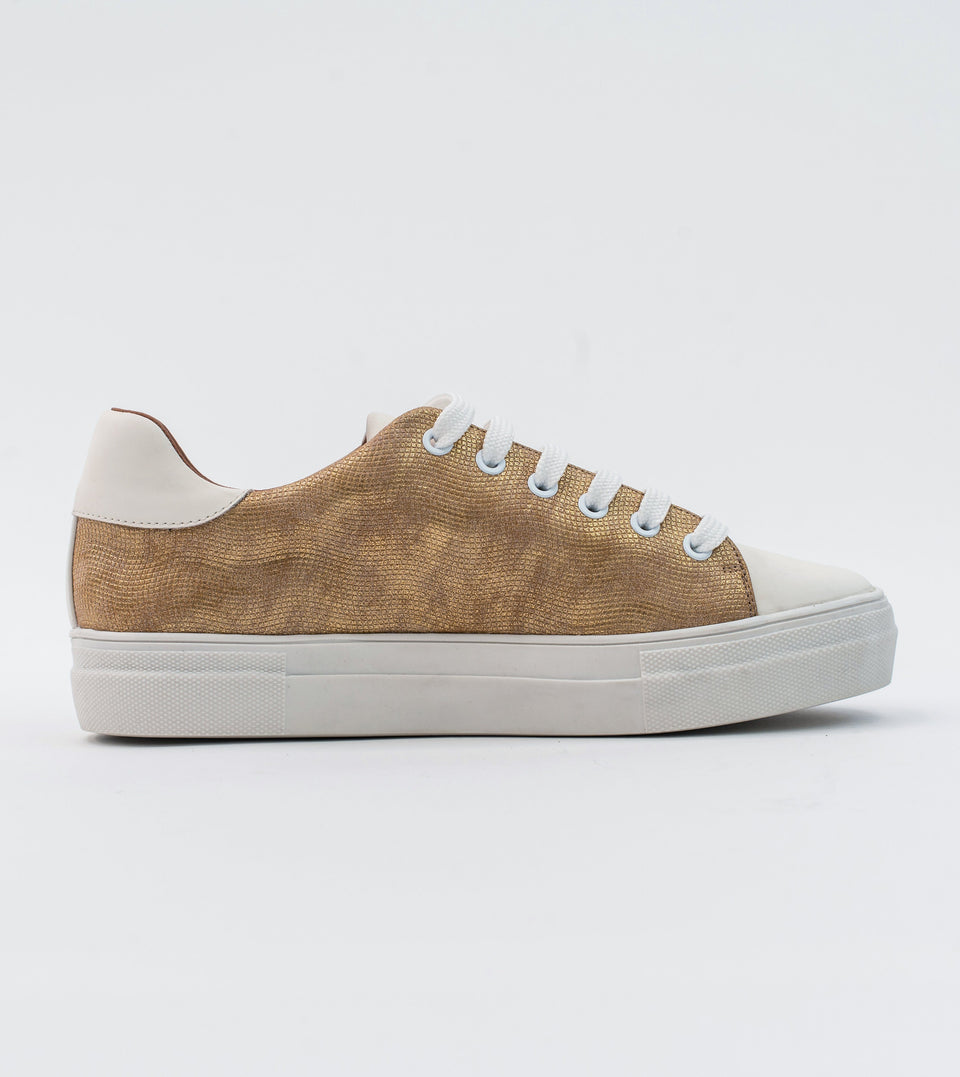 Lucy gold leather vegan lace trainer Trainer Allkind Vegan