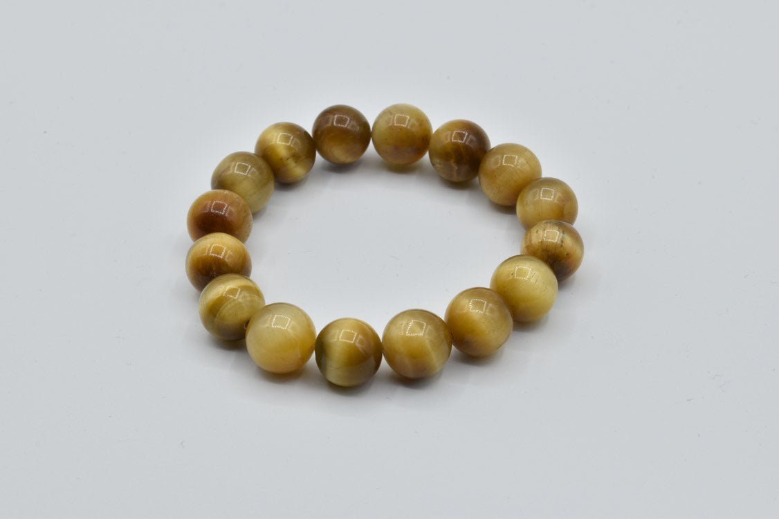 Golden Tiger Eye gemstone beaded bracelet (12mm)