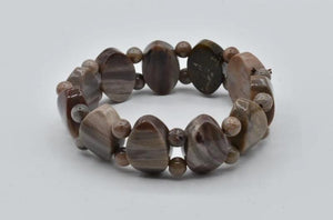 Wood opalite/perified wood beaded bracelet