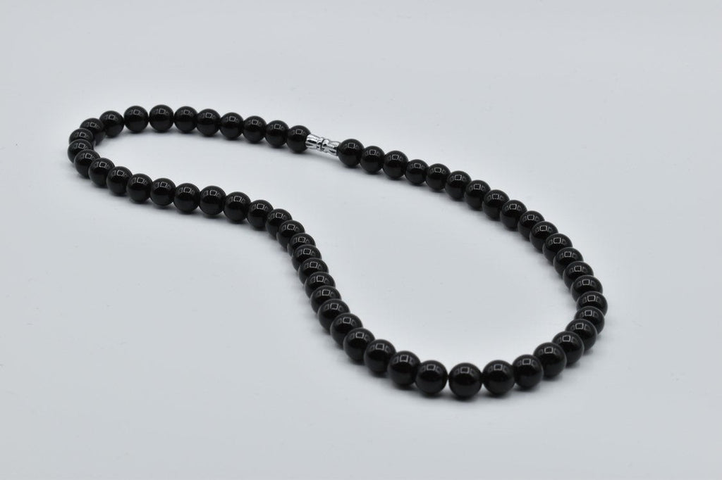 Black Obsidian Bead Necklace, 8.5mm