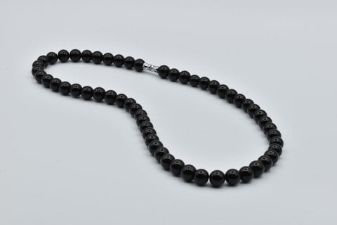 *****SOLD***** Black Obsidian Bead Necklace, 8.5mm