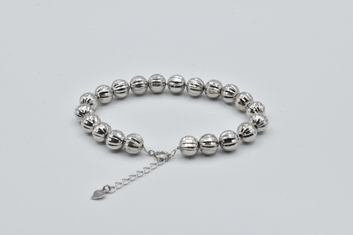 8.25mm bead white gold plated sterling silver bracelet