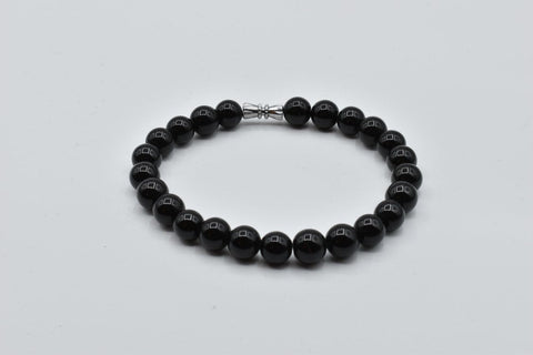 Natural Black Obsidian stone beaded stretch bracelet (8-8.5mm)