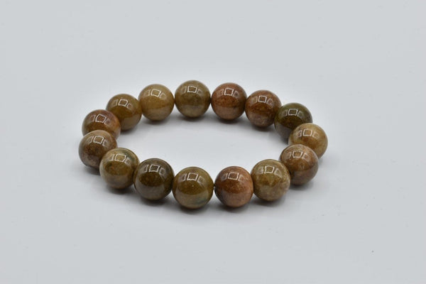 Natural petrified wood gemstone beaded bracelet (14mm)