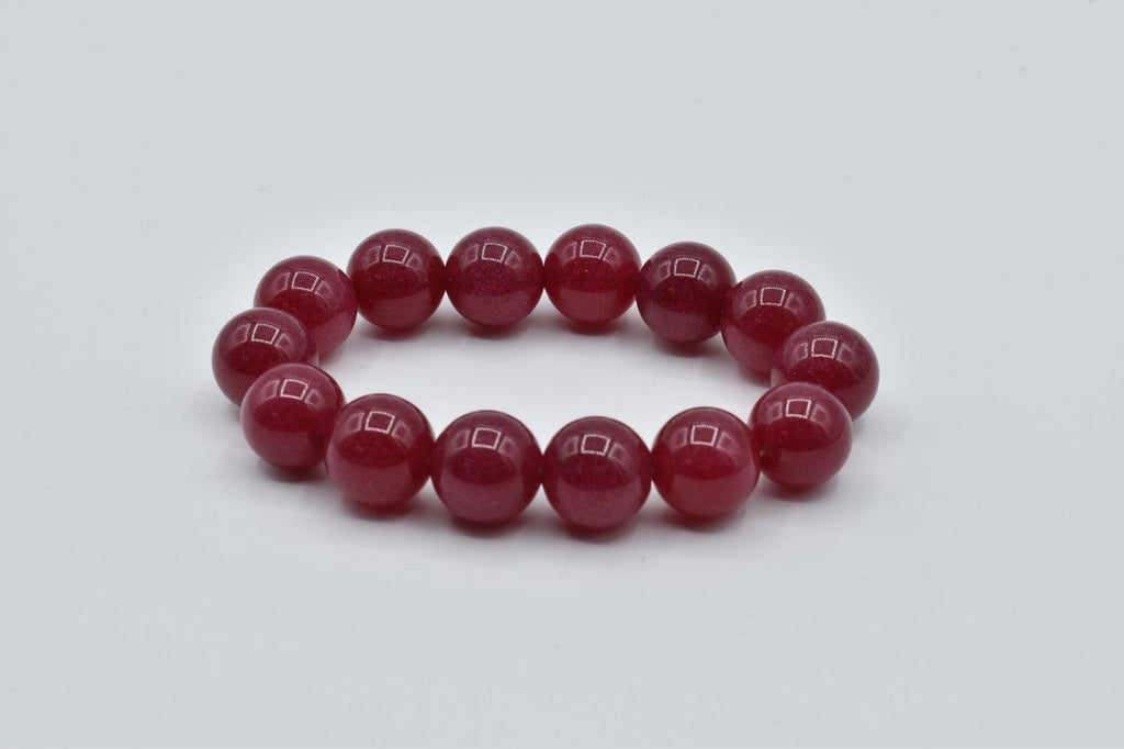 Red Ruby Agate beaded bracelet (12mm)