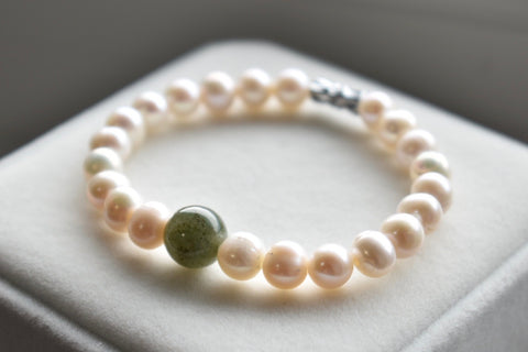 *****SOLD***** Natural Jadeite Jade and White Freshwater Pearl Bracelet, 7.75-8.0mm