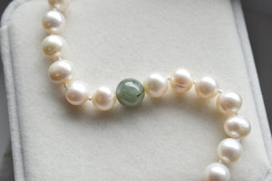 Natural Jadeite Jade and White Freshwater Pearl Bracelet, 9.5-10mm