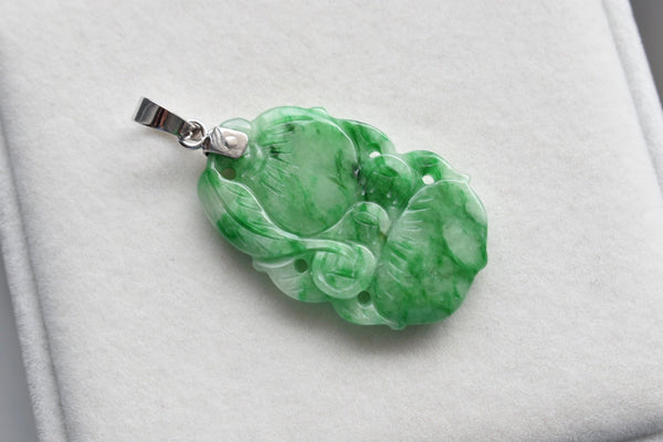 Natural Jadeite Jade Double-Sided Green Wealth Bag Pendant in 14K White Gold