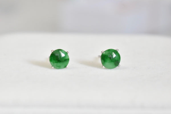 Natural Translucent Green Jadeite Jade Stud Earrings in 14K White Gold