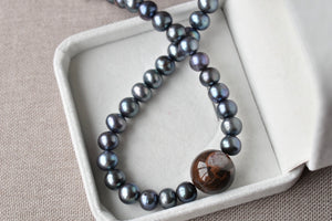 Wood Opal/Petrified Wood and Black Freshwater Pearl Necklace, 9-10mm