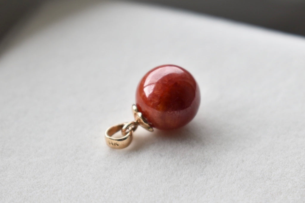 Natural Jadeite Jade Red Ball Pendant in 14K Yellow Gold