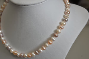 Multicolor Freshwater Oval Pearl Necklace, 7.5-8mm