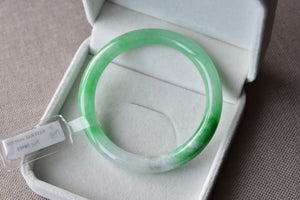 56.36mm Natural Tricolor White + Light Green + Vivid Green Jadeite Jade Round Bangle