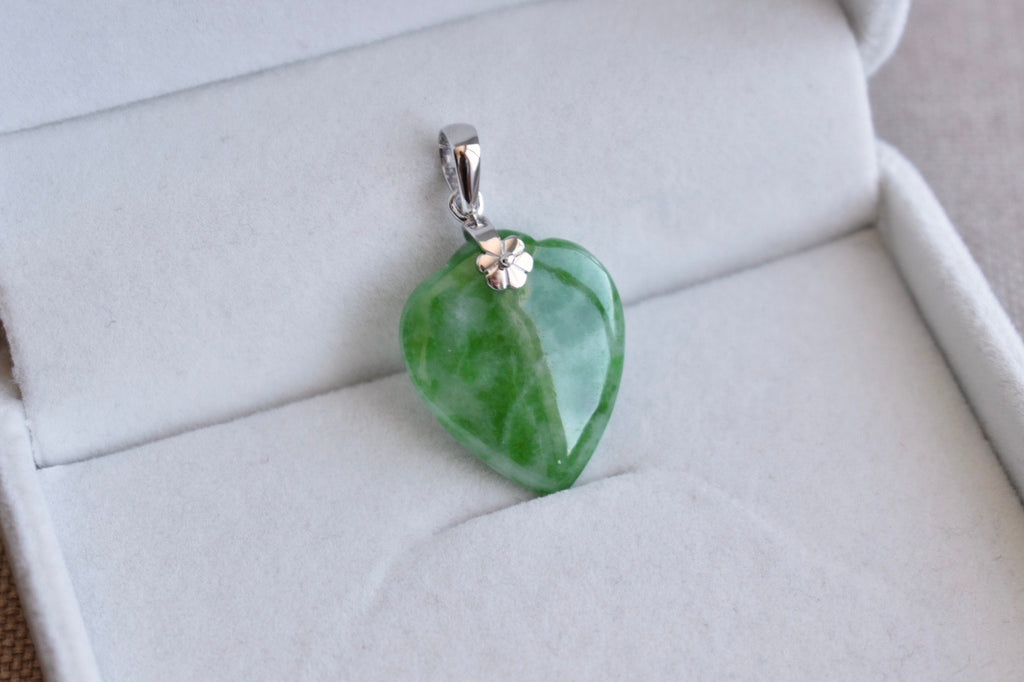 Natural Translucent Faint Bluish Green + Vivid Green Jadeite Jade Heart Pendant in 14K White Gold