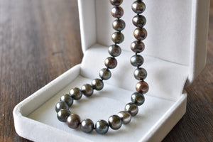 Black Freshwater Oval Pearl Necklace, 9-10mm