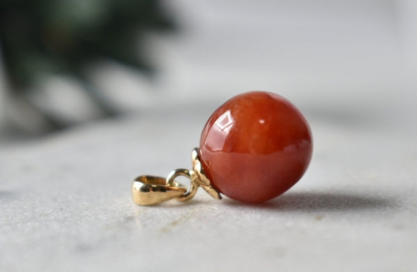 Natural Red Jadeite Jade Ball Pendant in 14K Yellow Gold