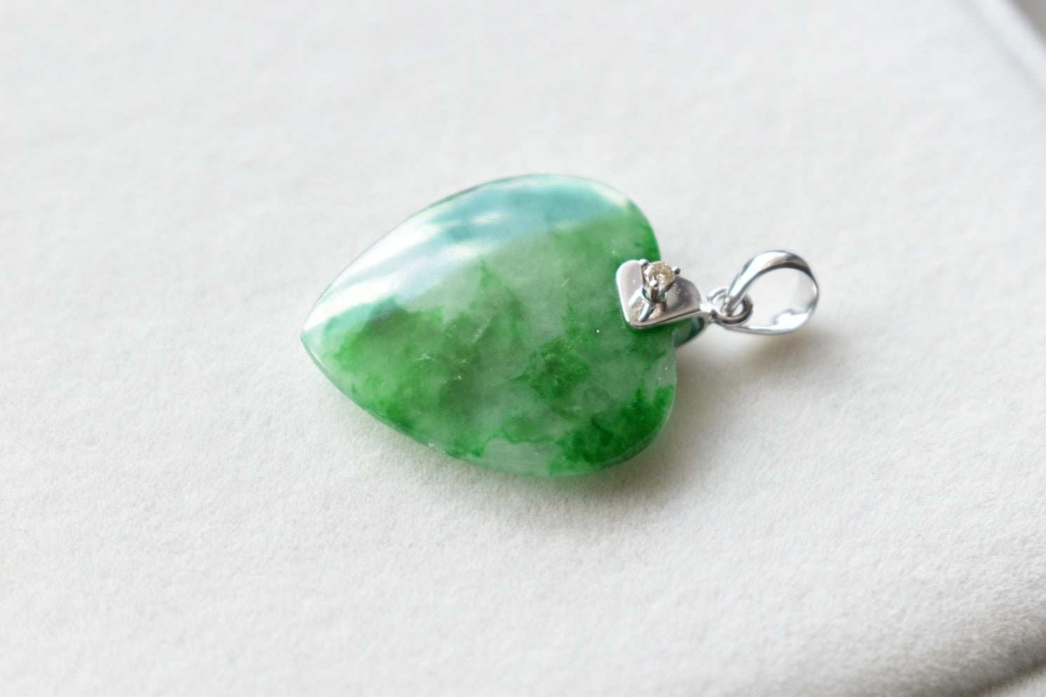 Natural Icy Moss In Snow Jadeite Jade and Diamond Heart Pendant in 14K White Gold
