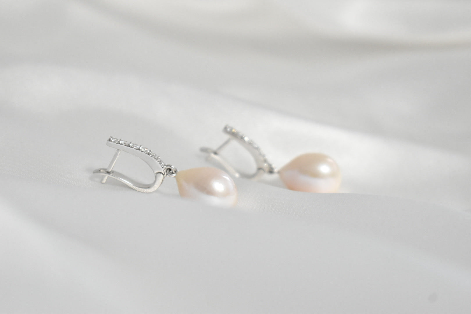 Pink Freshwater Pearl and 0.36 CT. T.W. Diamond Drop Earrings in 14K White Gold