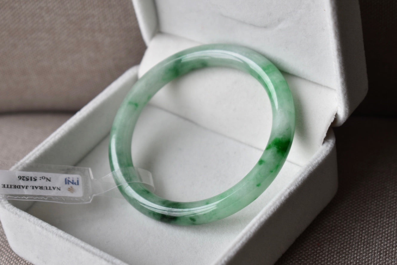 54.12mm Natural Faint Green + Vivid Green Floral Jadeite Jade Round Bangle