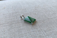 Natural Translucent Imperial Green Jadeite Jade Rectangle Pendant in 10K White Gold
