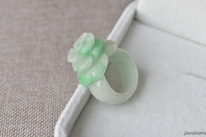 Natural Icy Moss In Snow Jadeite Jade Flower Ring - Size 6 US
