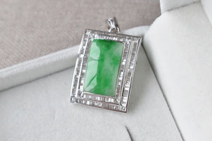 Natural Translucent Green Jadeite Jade Curved Rectangle with Double Diamond Halo Pendant in 14K White Gold