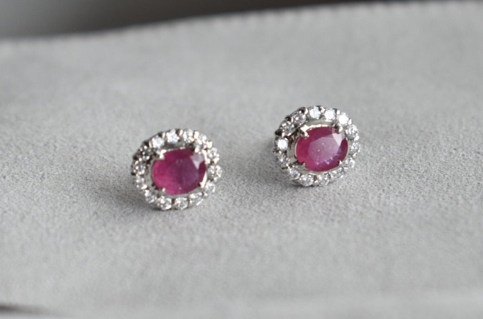 Natural Pink Oval Ruby and Moissanite Halo Stud Earrings in 10K White Gold