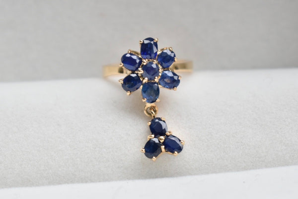 Blue Sapphire Flower Ring With Trio Cluster Dangle in 14K Yellow Gold - Size 5 US