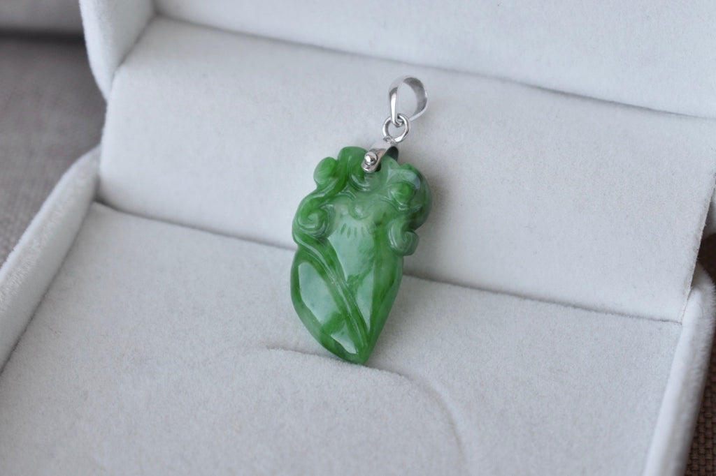 Natural Translucent Green Jadeite Jade Double-Sided Lucky Peach Pendant in 10K White Gold