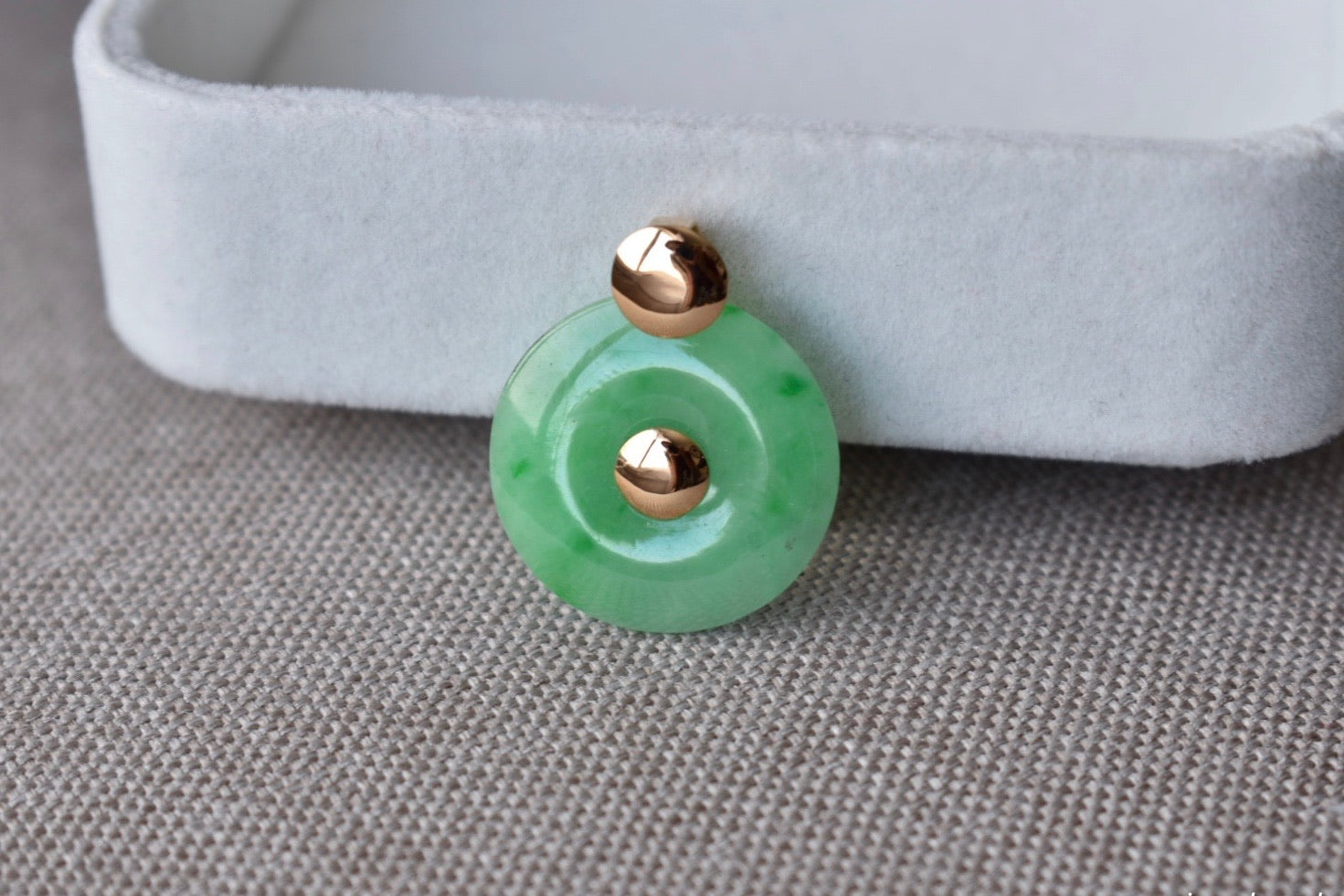 Natural Icy Green Jadeite Jade Donut Pendant in 14K Yellow Gold