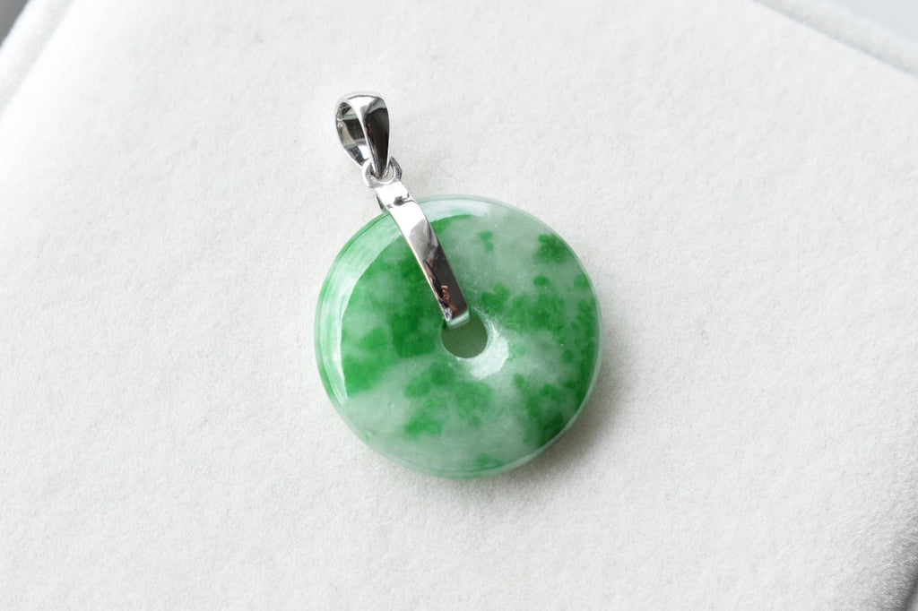 Natural Faint Bluish Green + Vivid Green Jadeite Jade Donut Pendant in 14K White Gold
