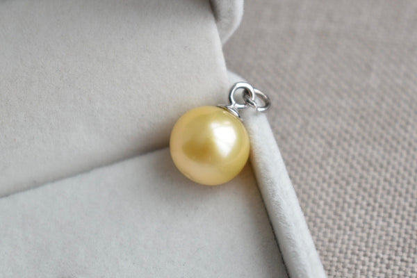 Golden South Sea Pearl Pendant Charm in 14K White Gold, 12.75mm