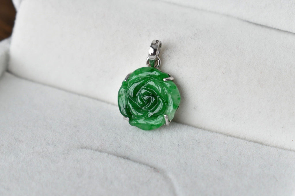 Natural Translucent Vivid Green Jadeite Jade Dainty Rose Pendant in 10K White Gold