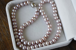 Lavender Freshwater Button Pearl Necklace, 7.25-7.75mm