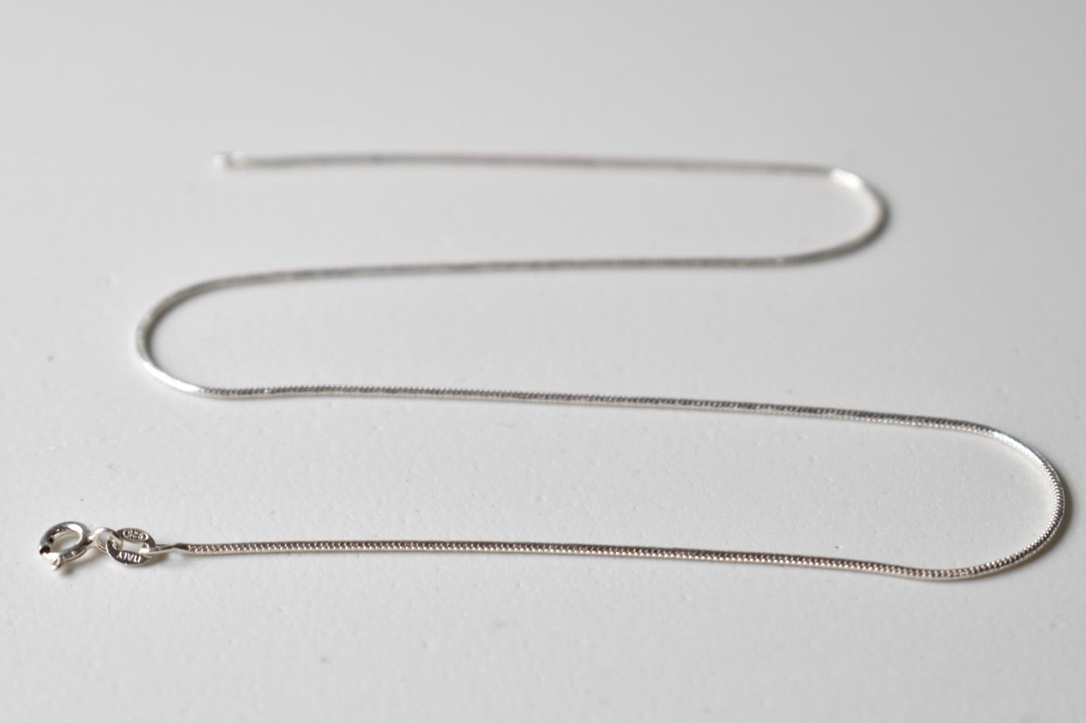 White Gold Plated Sterling Silver Snake Necklace Chain, 16 inches