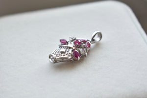 Natural Pink Ruby and Moissanite Flower Basket Pendant in 14K White Gold