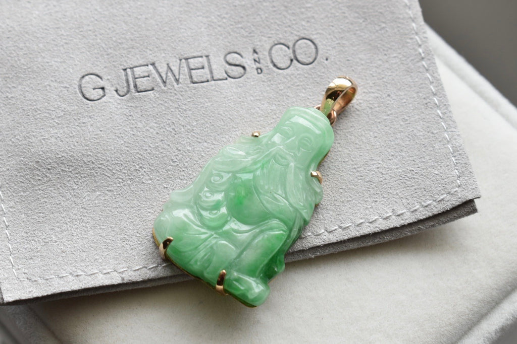 Natural Moss In Snow Jadeite Jade God of Wealth Pendant in 14K Yellow Gold