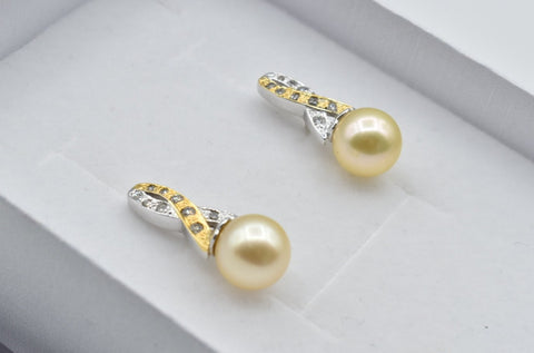 Golden South Sea Pearl with 0.22 CT. T.W. Diamond Breast Cancer Awareness Ribbon Earrings in 10K White Gold and Yellow Gols