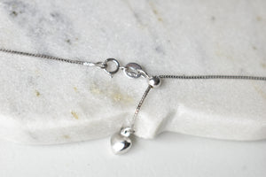 "19"" Adjustable Box Chain in 18K White Gold"