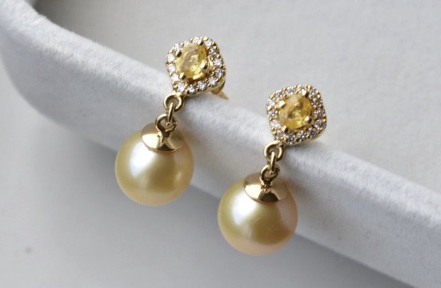 Golden South Sea Pearl Dangle Earrings with Oval Citrine and Diamond Halo in 18K Yellow Gold