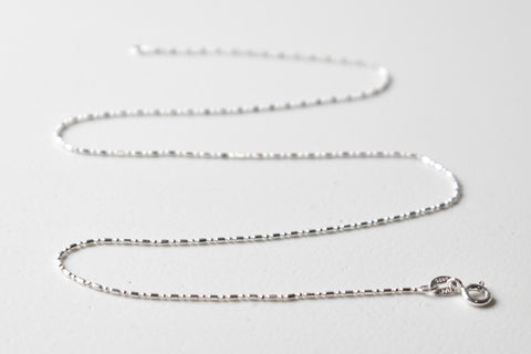 White Gold Plated Sterling Silver Ball and Round End Tube Necklace Chain, 16 inches