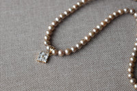 Golden Freshwater Pearl Necklace with Moissanite Pendant in 14K Yellow Gold
