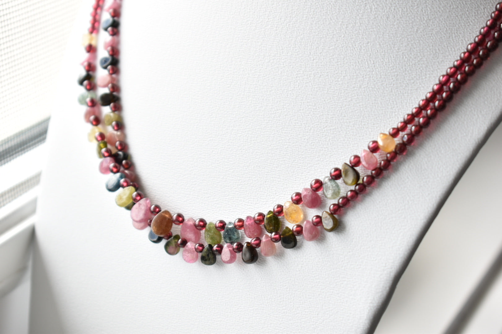 Multicolor Natural Tourmaline Almond and Bead Necklace